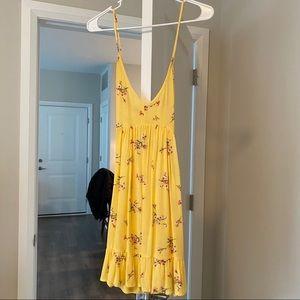 Yellow floral mini dress